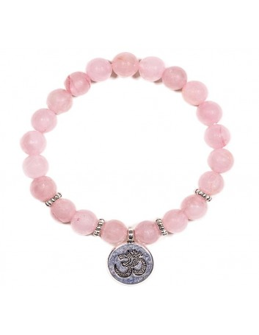 Mala / pulsera elástica, cuarzo rosa con OM