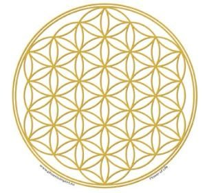 Sticker Flower of Life, dorado