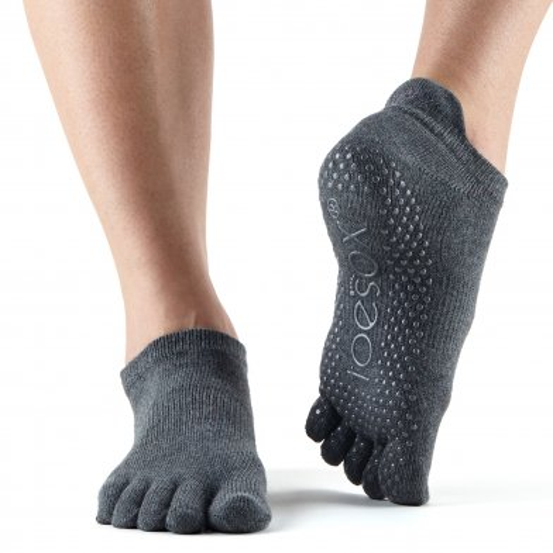 Toesox Tobilleros con dedos, gris carbón